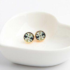Tory Burch Green Round Double Tlogo Stud Earrings